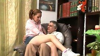 Sexy Italian teen sits in a grandpas lap
