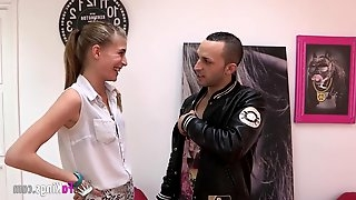 Shy girl pounded by hipster guy from Madrid