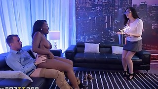 Interracial Threesome Pussy To Mouth Sex Scene In Strip Club