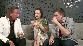 Slim brunette rides her boyfriends dick and gives him a blowjob