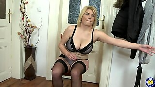 Busty blonde amateur MILF Galinka makes herself cum with a dildo