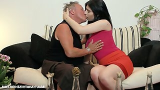 Slutty young chick Sheril Blossom hooks up with one kinky old fart