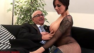 Victoria Brown in fishnet stockings gets her ass penetrated deep