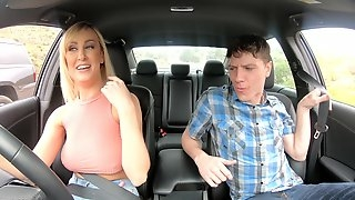 Amater blonde girl flashes her tits in the car and gets fucked