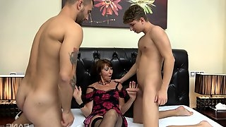 MMF threesome between two younger dudes and slutty mature Dana