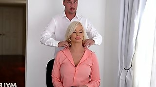 Young trainee fucks sex-starved bossy bitch London River not to lose his job
