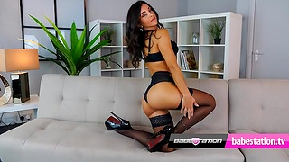 Hot Model Toni Lane in Black Lingerie playing with boobs & pussy
