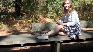 shy teen shows her puristic pussy outdoor