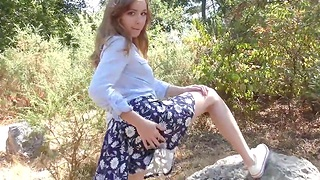 Real retrogressive teen shows her hairy pussy outdoor