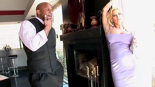 Interracial having it away ends with cum on boobs for busty Shyla Stylez