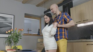 Amateur Russian babe Mileva enjoys getting fucked in the kitchen