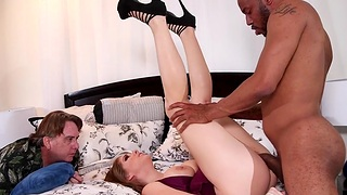 Husband lets his horny wife Alex Chance ride a fruitful black gumshoe
