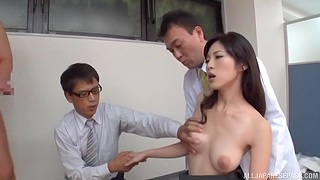 Japanese soaked in sperm by office colleagues